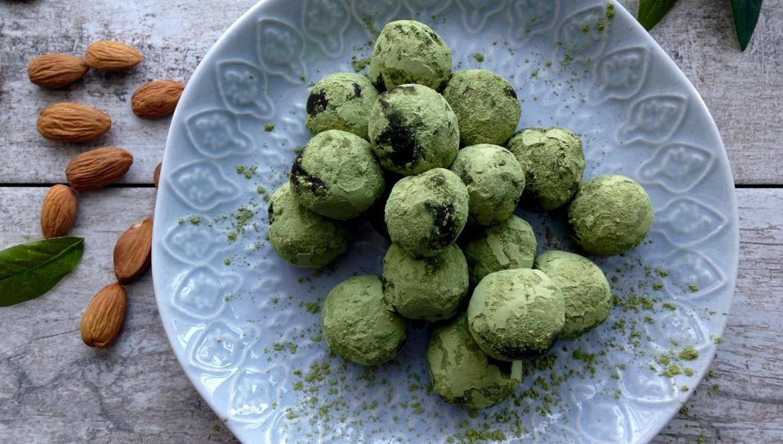truffes thé vert et chocolat noir