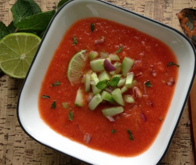 gaspacho melon d'eau, menthe et lime
