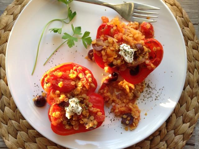 lentilles, tomates, poivron