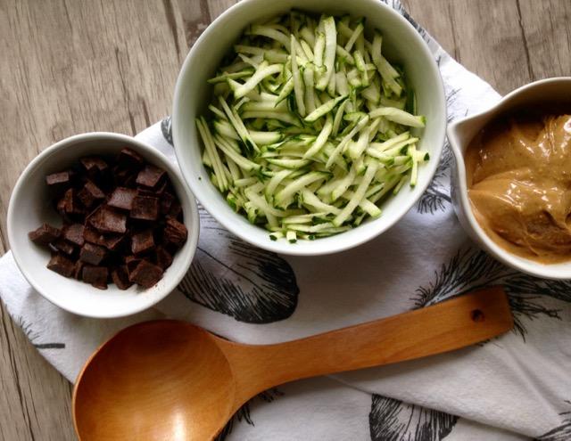 zucchinis, chocolat, beurre d'arachides