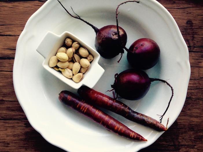légumes racines et pistaches