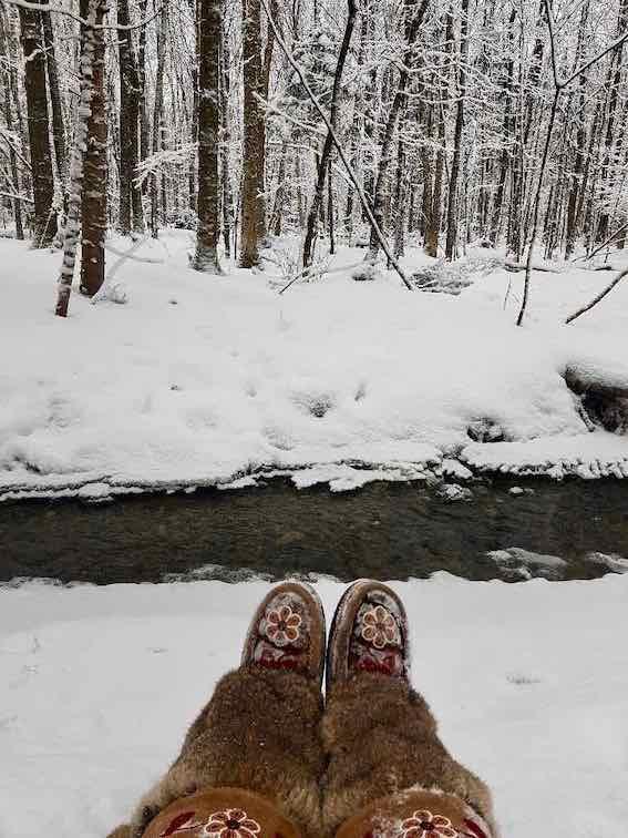 bain de forêt bottes hiver
